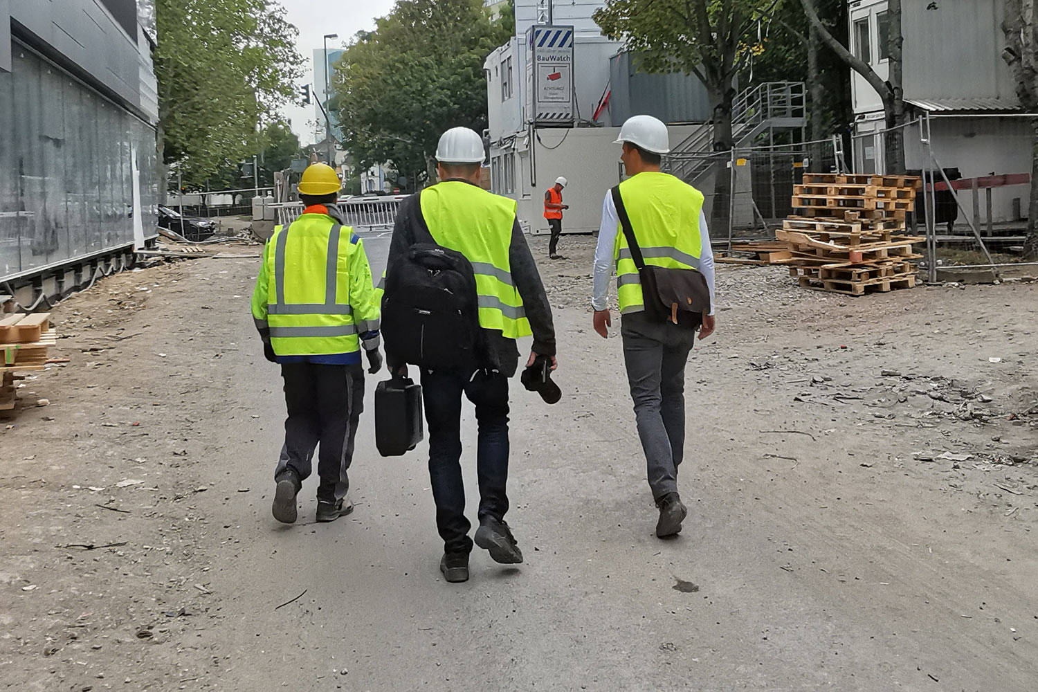 Community members visiting construction site